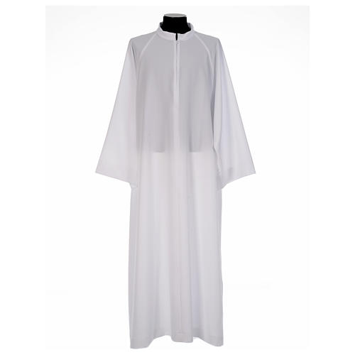 First Communion alb, flared with raglan sleeve in 100% polyester 1