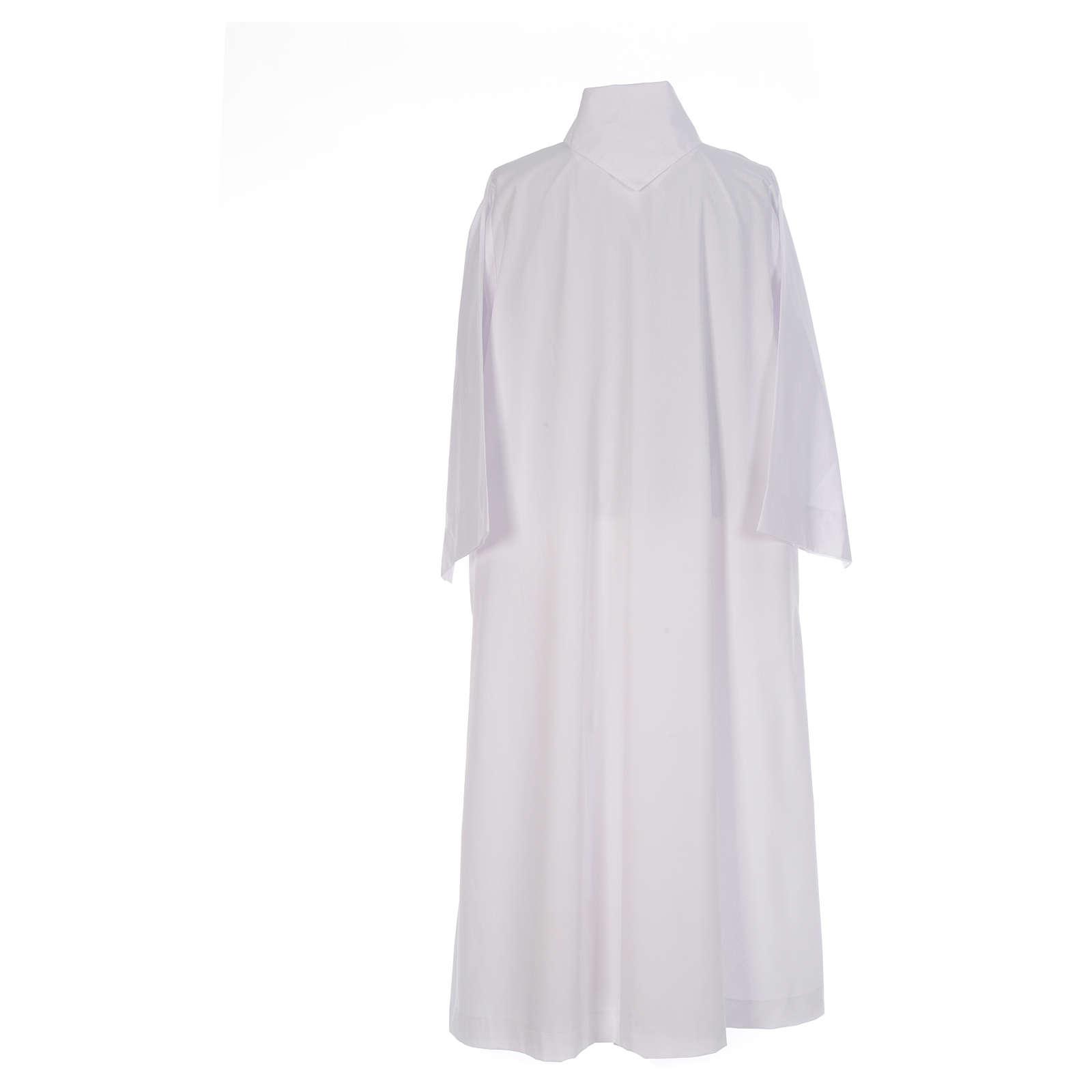 Camice bianco svasato con finto cappuccio misto cotone 4