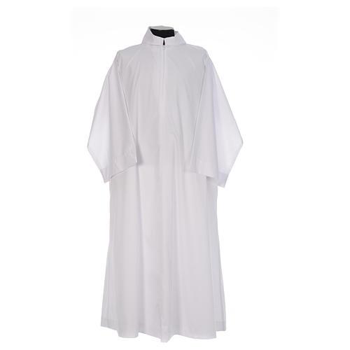 Camice bianco svasato con finto cappuccio misto cotone 1