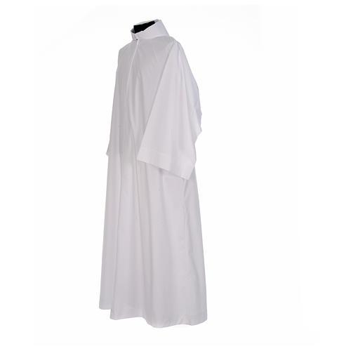 Camice bianco svasato con finto cappuccio misto cotone 2