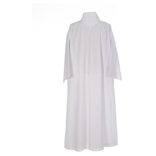 Camice bianco svasato con finto cappuccio misto cotone 3