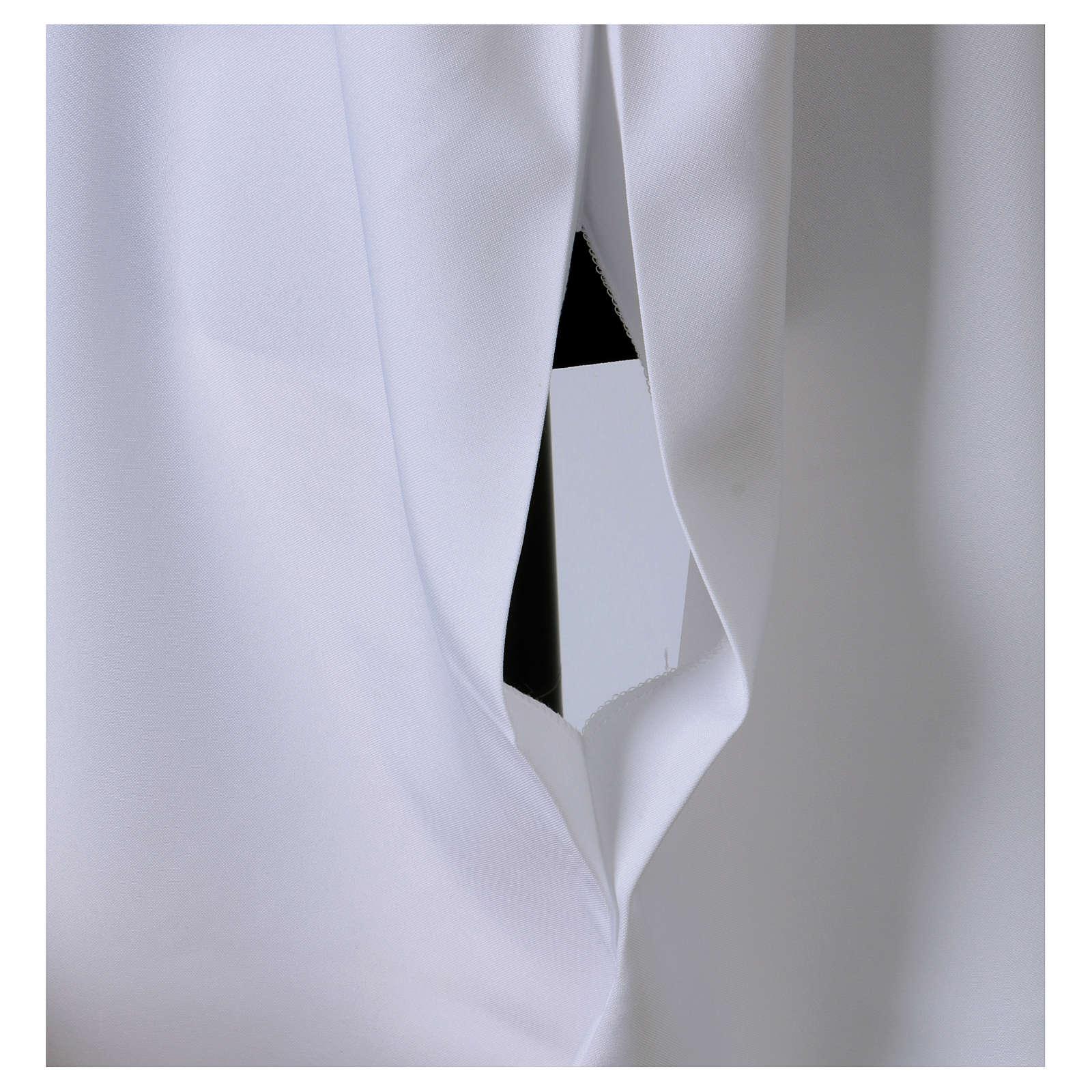 Camice bianco svasato con finto cappuccio 100% poliestere 4