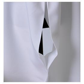 Camice bianco svasato con finto cappuccio 100% poliestere s5