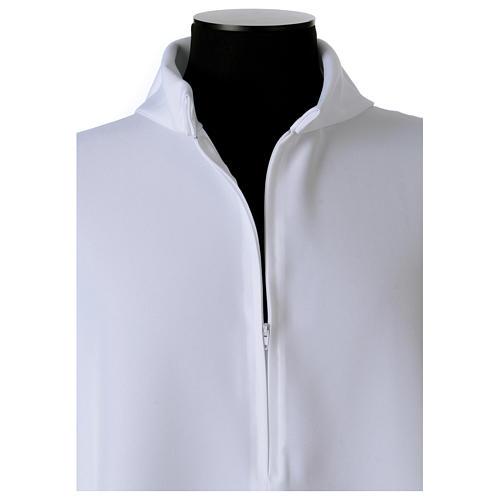 Camice bianco svasato con finto cappuccio 100% poliestere 6