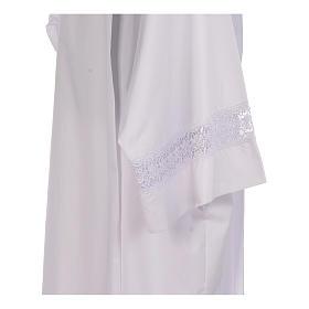 Camice bianco piegoni e macramè su fondo e maniche misto cotone s4