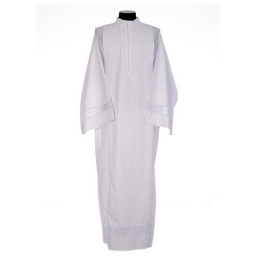 Camice bianco piegoni e macramè su fondo e maniche misto cotone 1