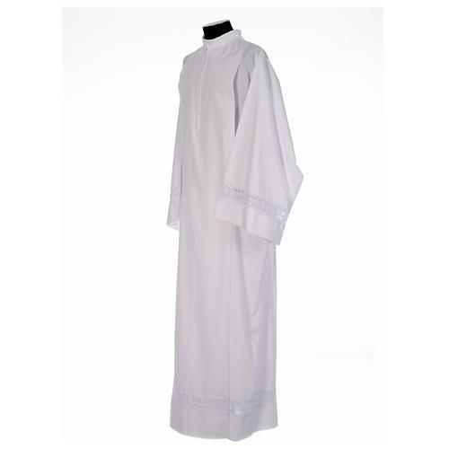 Camice bianco piegoni e macramè su fondo e maniche misto cotone 2