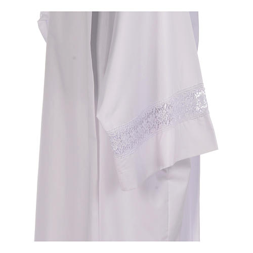 Camice bianco piegoni e macramè su fondo e maniche misto cotone 4