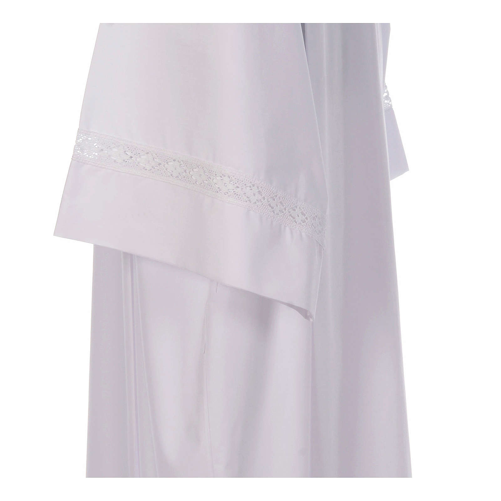 Alb with pleats and cotton lace on hem and sleeves in cotton mix 4