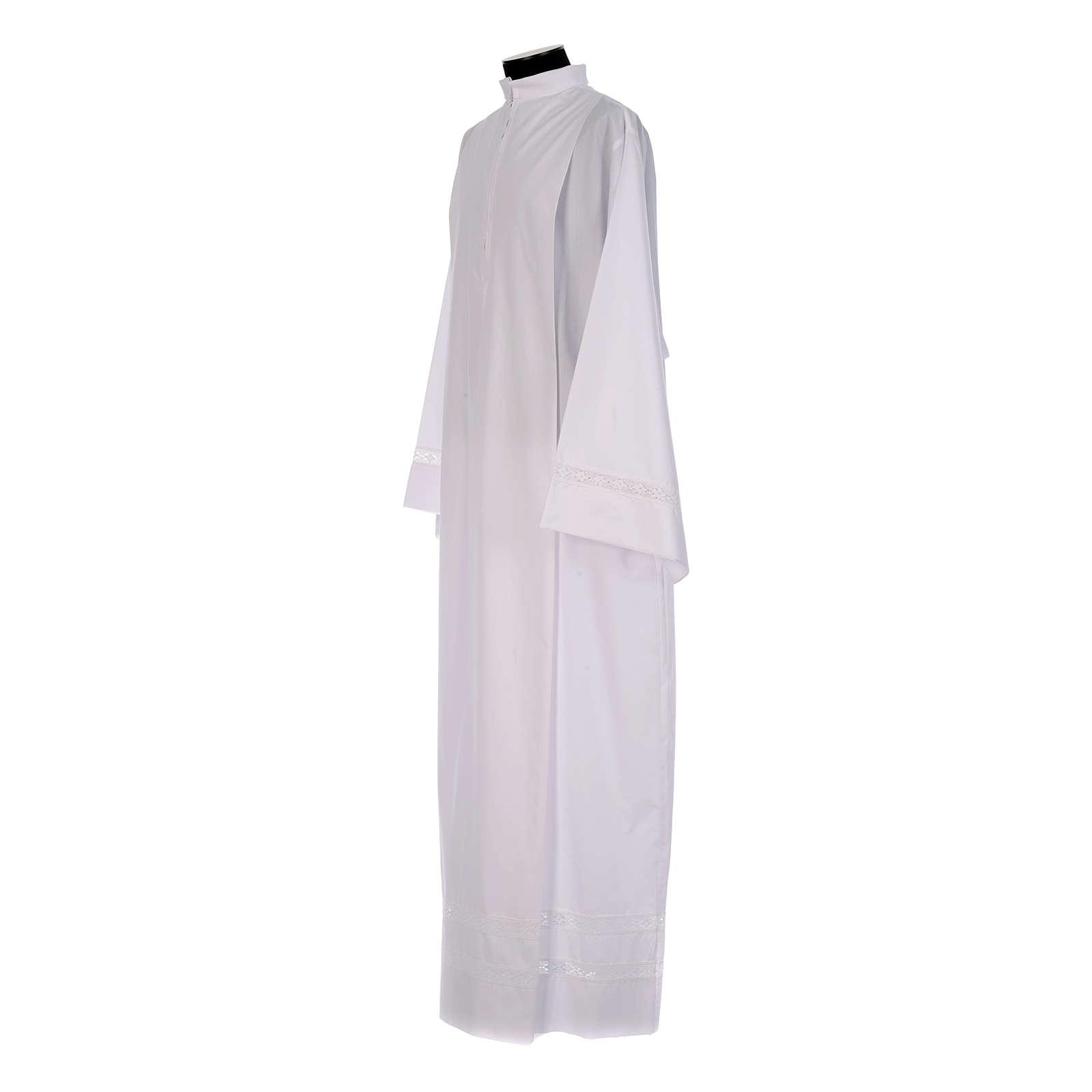 Alba blanca pliegues y punta de algodón en el fondo y mangas algodón mixto 4