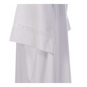 Alba blanca pliegues y punta de algodón en el fondo y mangas algodón mixto s4