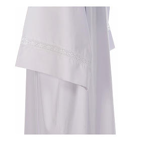 Camice bianco piegoni e pizzo di cotone su fondo e maniche misto cotone s4