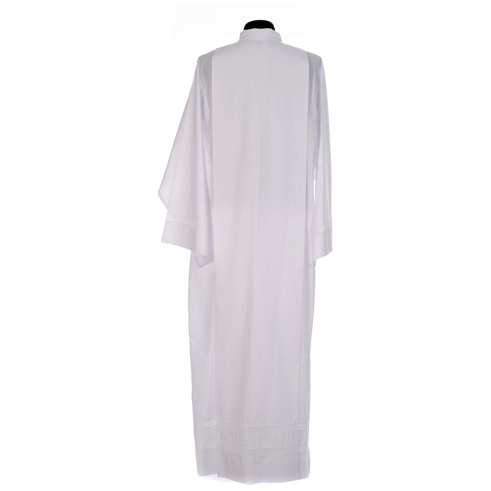 Monastic Alb with cotton lace on hem and sleeves in cotton mix 4