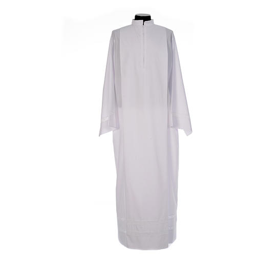 Monastic Alb with cotton lace on hem and sleeves in cotton mix 1