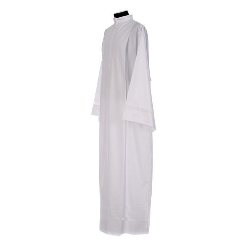 Monastic Alb with cotton lace on hem and sleeves in cotton mix 2
