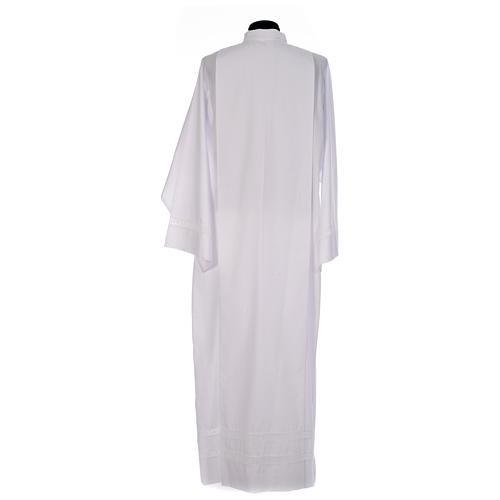 Monastic Alb with cotton lace on hem and sleeves in cotton mix 3