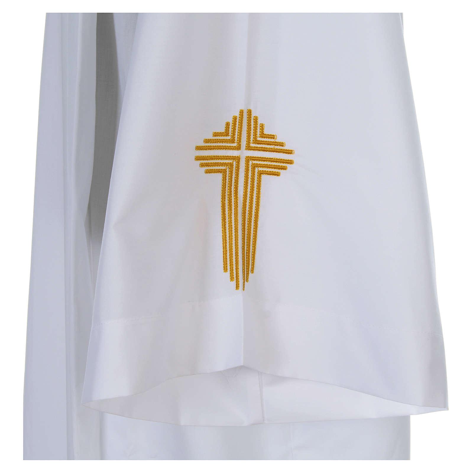 Camice bianco piegoni e croce ricamata fondo e maniche misto cotone 4