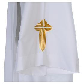 Camice bianco piegoni e croce ricamata fondo e maniche misto cotone s5