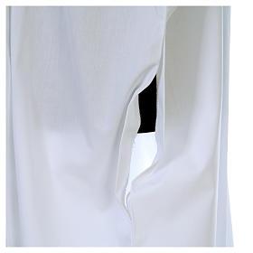 Camice bianco piegoni e croce ricamata fondo e maniche misto cotone s6