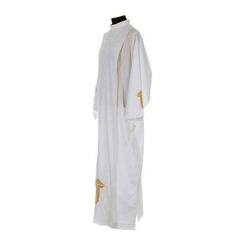 Camice bianco piegoni e croce ricamata fondo e maniche misto cotone 2