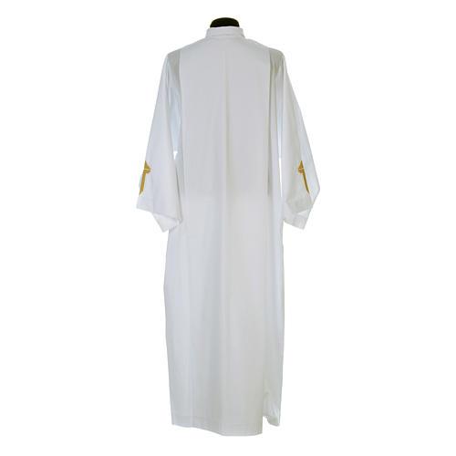 Camice bianco piegoni e croce ricamata fondo e maniche misto cotone 3