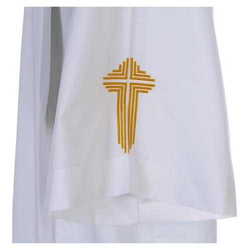Camice bianco piegoni e croce ricamata fondo e maniche misto cotone 5