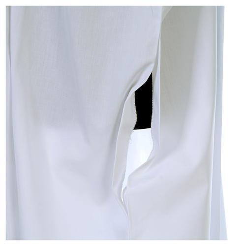 Camice bianco piegoni e croce ricamata fondo e maniche misto cotone 6