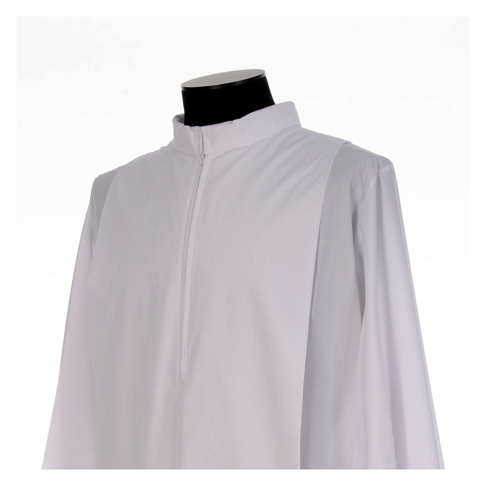 White alb, pleated with collar in cotton mix 4