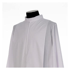 White alb, pleated with collar in cotton mix s4