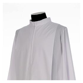 Alba blanca con pliegues y cuello solapa algodón mixto s4