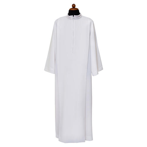 White alb, pleated with collar in 100% polyester 1