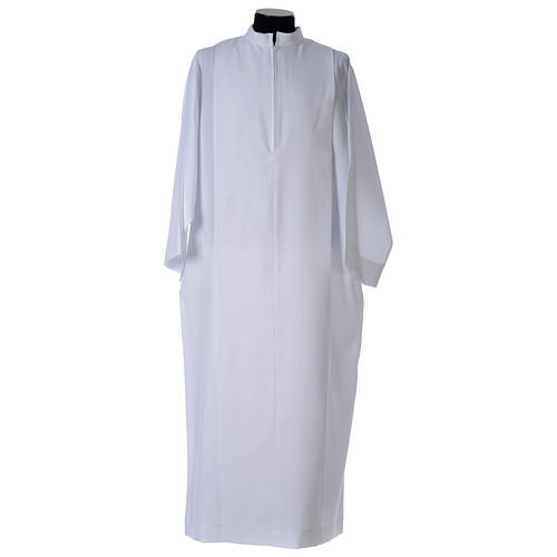 White alb, pleated with collar in 100% polyester 2