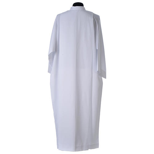 White alb, pleated with collar in 100% polyester 3