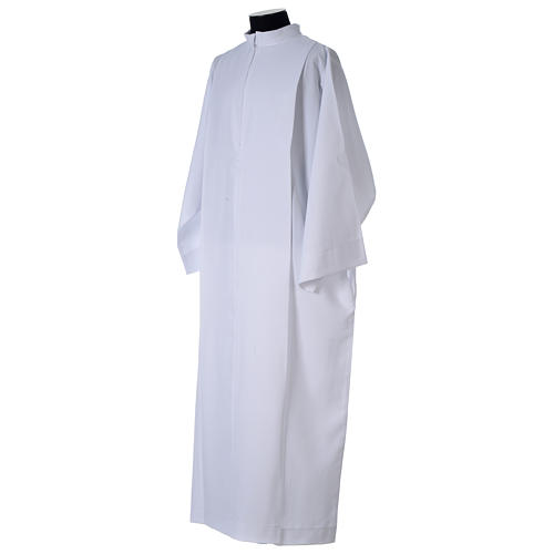 White alb, pleated with collar in 100% polyester 4