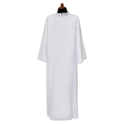 Camice bianco piegoni e colletto risvoltato 100% poliestere 1