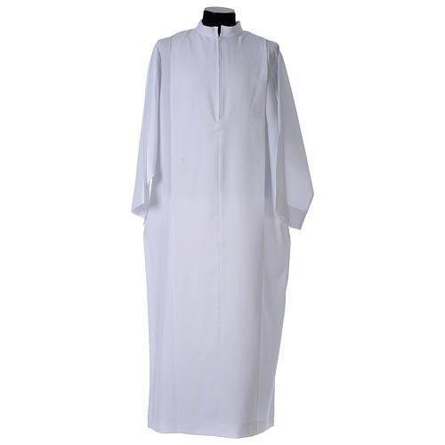 Camice bianco piegoni e colletto risvoltato 100% poliestere 2