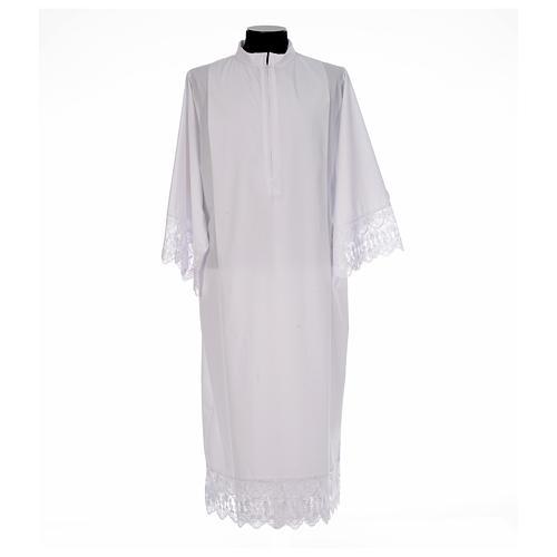 Camice bianco piegoni e merletto con calice misto cotone 1