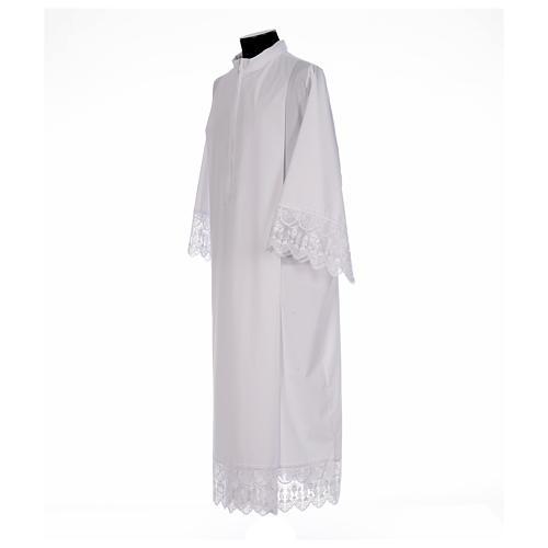 Camice bianco piegoni e merletto con calice misto cotone 2