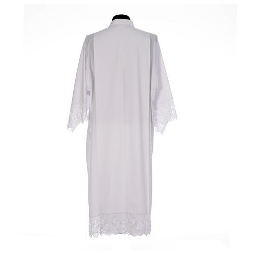 Camice bianco piegoni e merletto con calice misto cotone 3
