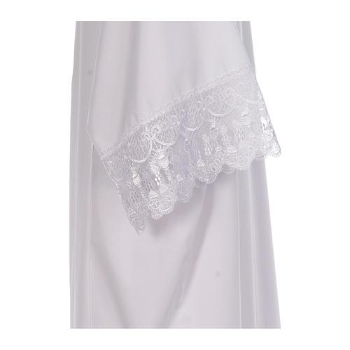 Camice bianco piegoni e merletto con calice misto cotone 4