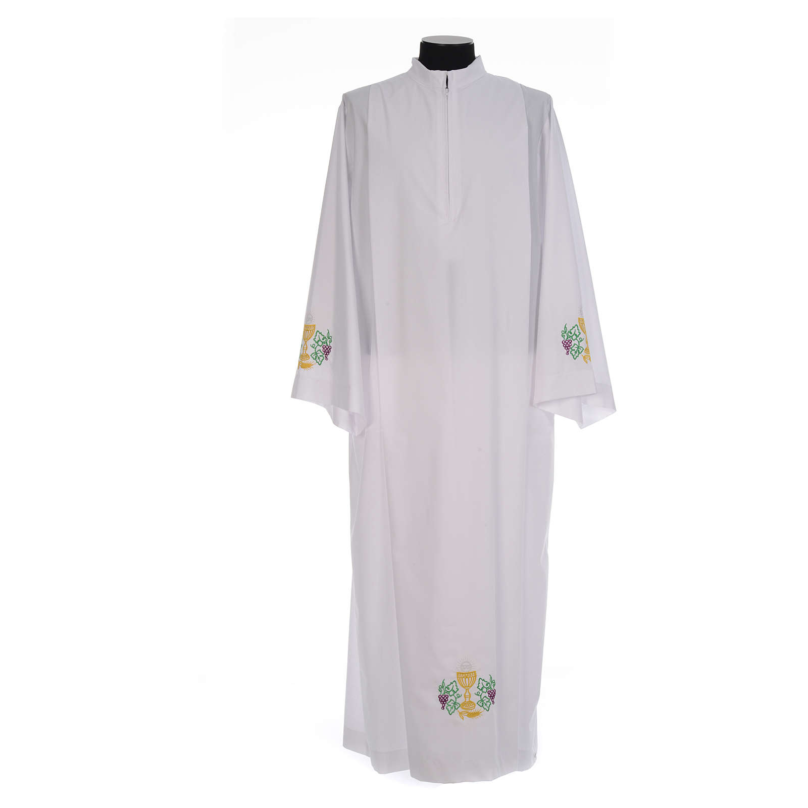 White alb with front pleats and embroidered chalice, grapes and wheat in cotton mix 4