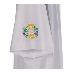 White alb with front pleats and embroidered chalice, grapes and wheat in cotton mix s4