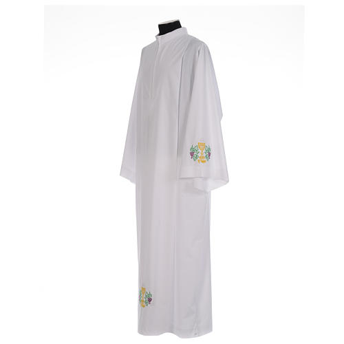 White alb with front pleats and embroidered chalice, grapes and wheat in cotton mix 2