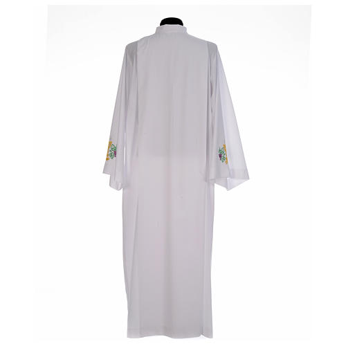 White alb with front pleats and embroidered chalice, grapes and wheat in cotton mix 3
