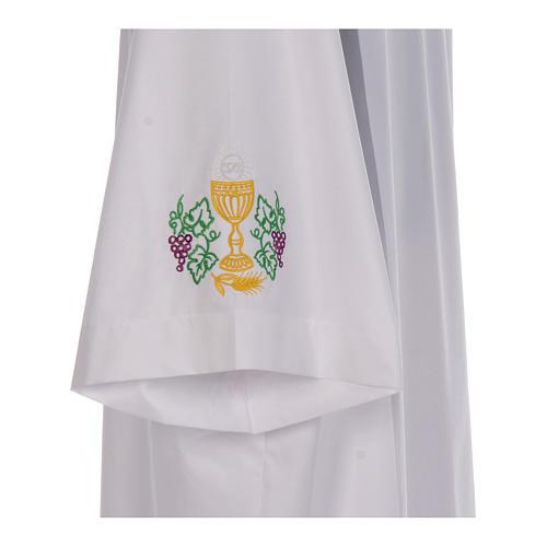 Túnica pregas bordado cálice uva trigo barra e punhos misto algodão 4
