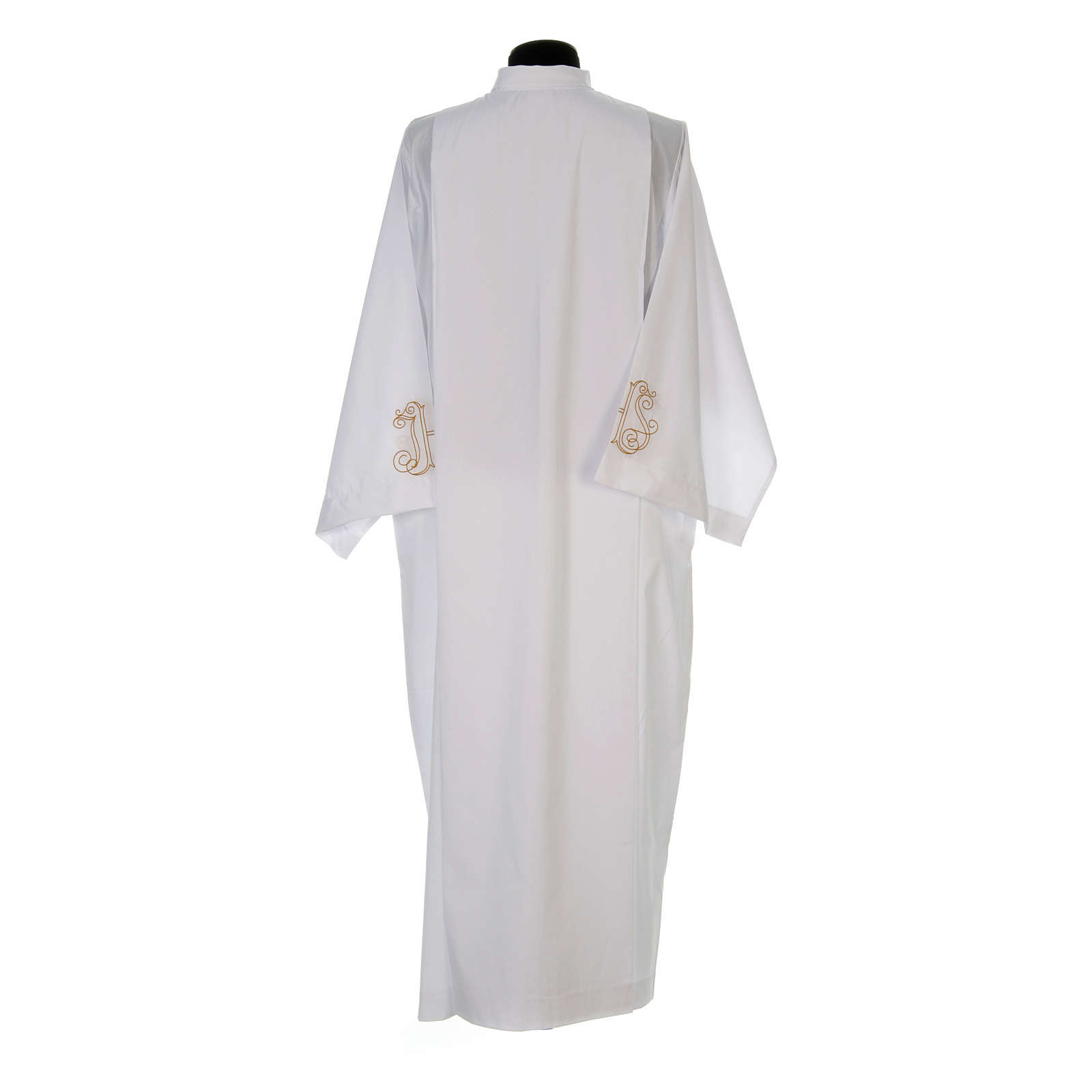 White alb with pleats and embroidered IHS symbol in cotton mix 4