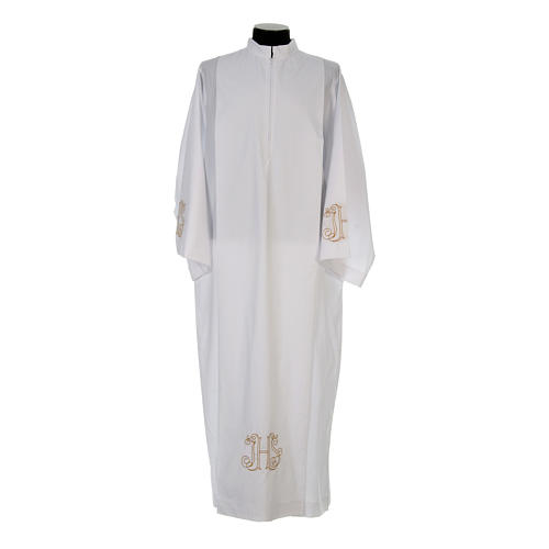 White alb with pleats and embroidered IHS symbol in cotton mix 1