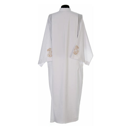 White alb with pleats and embroidered IHS symbol in cotton mix 3