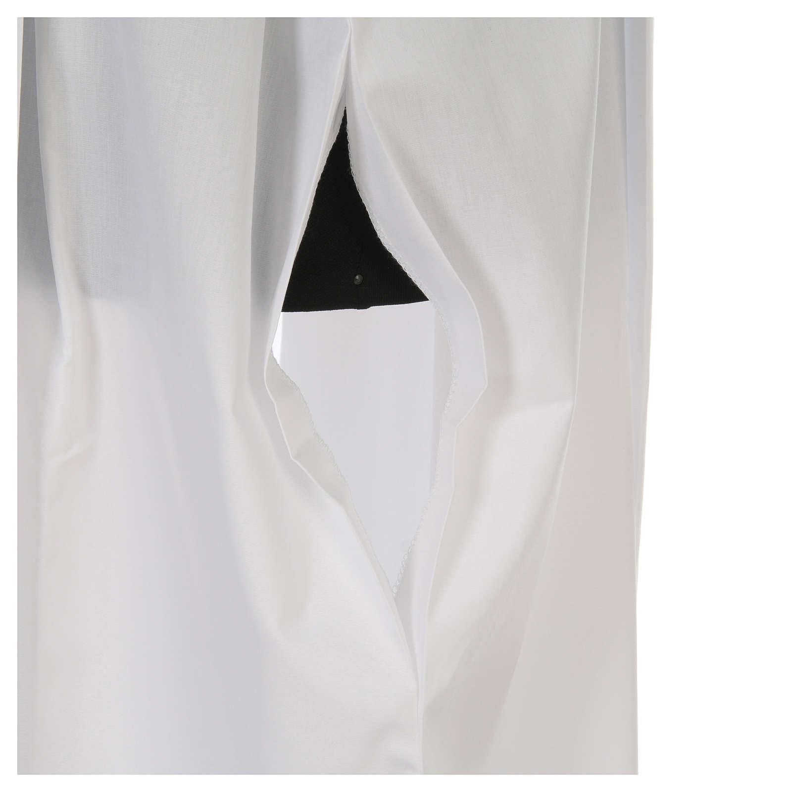 Camice bianco con piegoni e ricamo IHS misto cotone 4