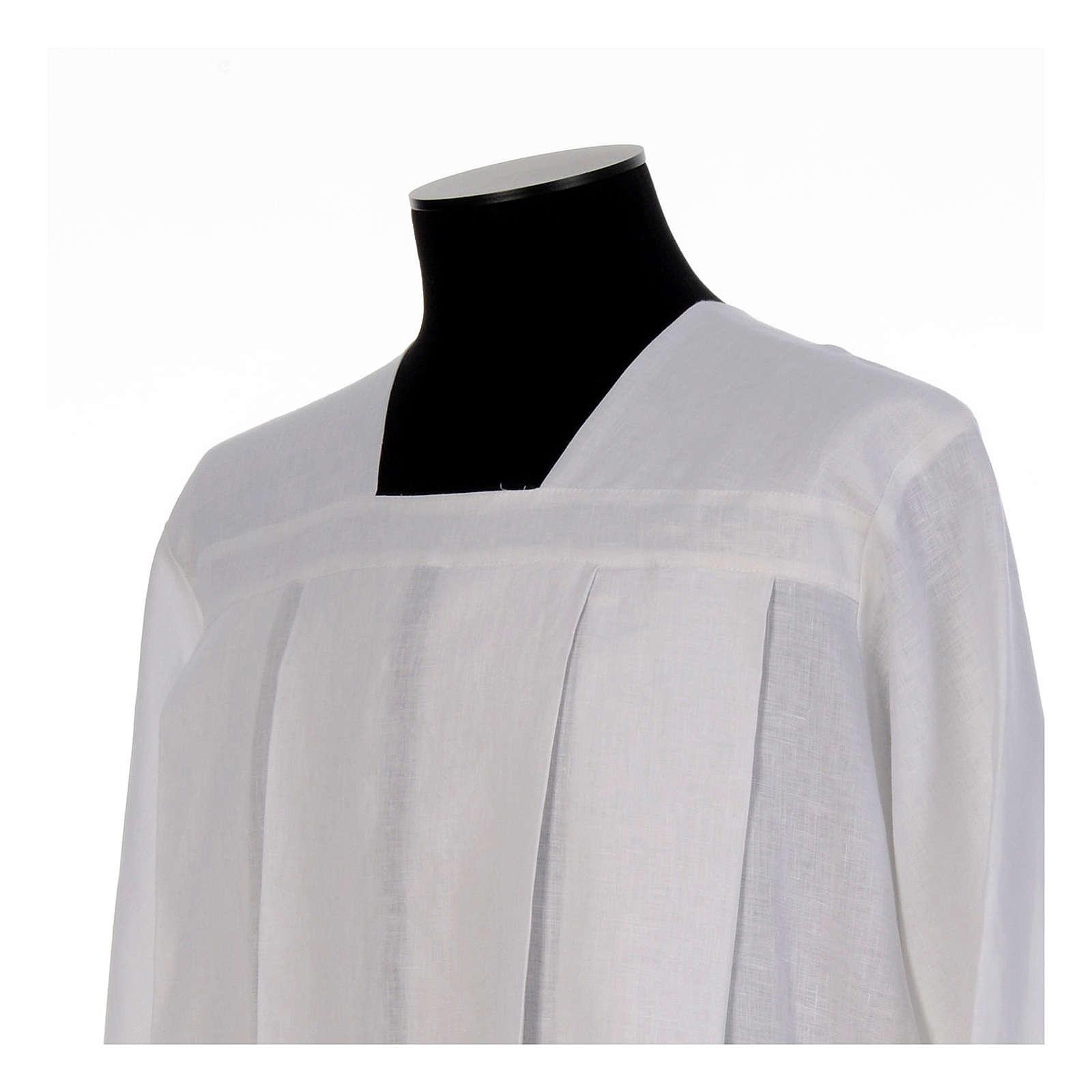 Camice da amitto bianco 4 piegoni collo quadro in lino 100% 4
